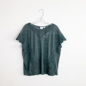 Anthropologie | crocheted short sleeve top green S